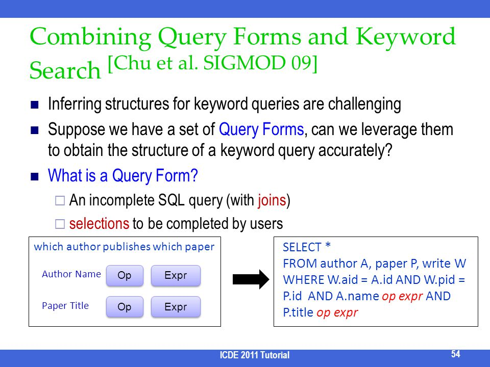Combining Query Forms and Keyword Search [Chu et al. SIGMOD 09]
